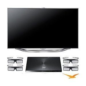 Samsung UN60ES8000 60-Inch 1080p 240 Hz 3D Slim LED HDTV with bluray player and 3d glasses